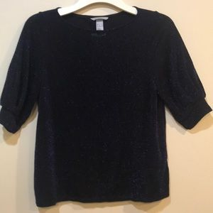 H&M blue sparkle shirt with oversized sleeves